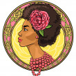 African woman in floral border — Stock Vector