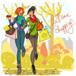 Women with shopping bags — Stock Vector #43415125