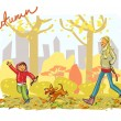 Mother and child walking dog — Stock Vector #43415129