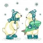 Polar bears, Christmas — Stock Vector #43415921