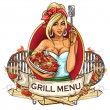 BBQ Grill Party label — Stock Vector #43416161