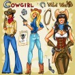 Cowgirls hand drawn collection — Stock Vector