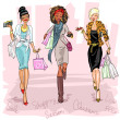 Women with shopping bags — Stock Vector #43416397