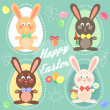 Easter card with easter bunnies, eggs — Stock Vector #43416445