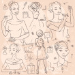 Beautiful women doodle — Stock Vector #43417065