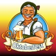 Bavarian man with beer and smoking pipe, Oktoberfest label — Stock Vector
