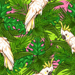 Seamless pattern with palm leaves and parrots — Stock Vector #43418207