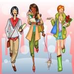 Girls walking down the street — Stock Vector #43418521