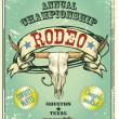Retro style Rodeo Championship poster with longhorn skull — Stock Vector #43419035