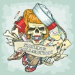 Pin Up Girl skull logo — Stock Vector #43419061
