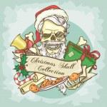 Santa Claus skull logo — Stock Vector