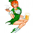 Leprechaun girl with beer and smoking pipe, St. Patrick's Day — Stock Vector #43419521