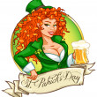 Leprechaun girl with beer, St. Patrick's Day — Stock Vector