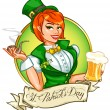 Leprechaun girl with beer and smoking pipe, St. Patrick's Day — Stock Vector