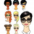 Women faces in sunglasses — Stock Vector