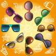 Sunglasses, different styles, sketch — Stock Vector