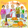 Family celebrating Thanksgiving Day — Stock Vector #43419729
