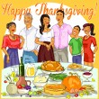 Family celebrating Thanksgiving Day — Stock Vector #43419741