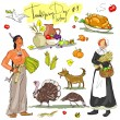 Thanksgiving day collection — Stock Vector