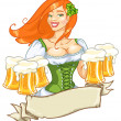 Girl with beer, St. Patrick's Day — Stock Vector #43419907