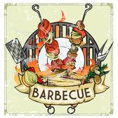 BBQ Grill logo — Stok Vektör