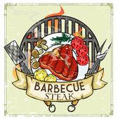 BBQ Grill logo design — Stock Vector