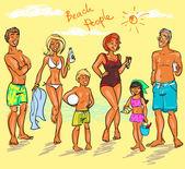 Beach people — Stock Vector