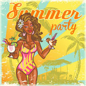 Beach or Pool party invitation — Stock Vector
