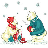 Polar bears, Christmas — Stock Vector