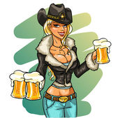 Sexy cowgirl with beer — Stock Vector