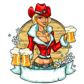 Christmas cowgirl with beer — Stock Vector