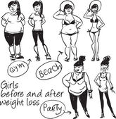 Girls before and after weight loss — Stock Vector