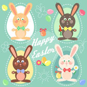 Easter card with easter bunnies, eggs — Stock Vector