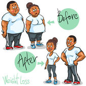 Man and Woman before and after weight loss program — Stock Vector