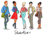 Group of Students — Stock Vector