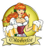 Girl with beer, Oktoberfest or St. Patrick's day — Stock Vector