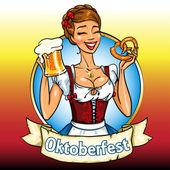 Bavarian girl with beer and pretzel, Oktoberfest label — Stock Vector
