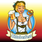 Bavarian girl with beer and pretzel, Oktoberfest label — Stock Vector