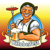 Bavarian man with beer and smoking sausage, Oktoberfest label — Stock Vector