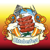 Oktoberfest label with beer, pretzels and sausages — Stock Vector