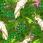 Seamless pattern with palm leaves and parrots — Stock Vector