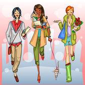 Girls walking down the street — Stock Vector