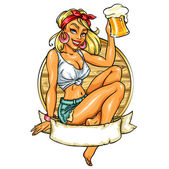 Pin Up Girl holding beer — Stock Vector