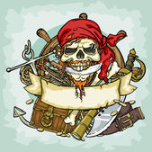 Pirate Skull logo — Stock Vector