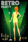 Retro party invitation — Stock Vector