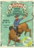 牛仔牛仔骑牛,复古风格海报 — 图库矢量图片