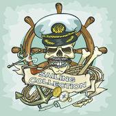 Captain skull logo — Vetor de Stock