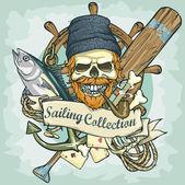 Fisherman skull logo — Stock Vector