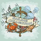 Etiqueta náutica — Vetor de Stock