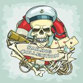 Sailor skull logo — Stock Vector